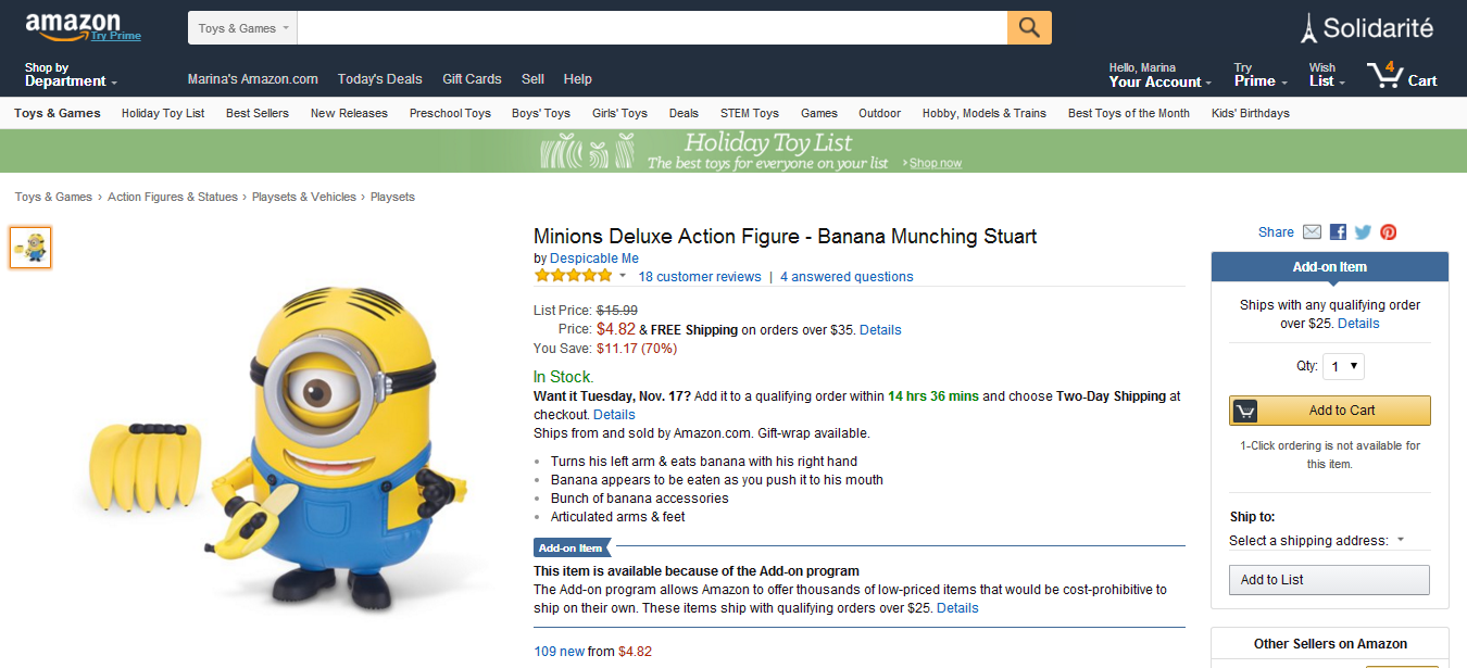 Amazon.com  Minions Deluxe Action Figure   Banana Munching Stuart  Toys   Games.