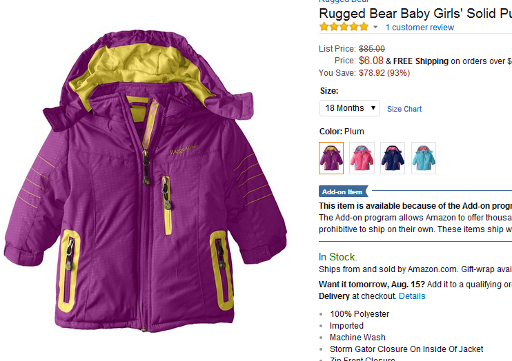 Amazon.com  Rugged Bear Baby Girls  Solid Puffer  Plum  18 Months  Clothing.