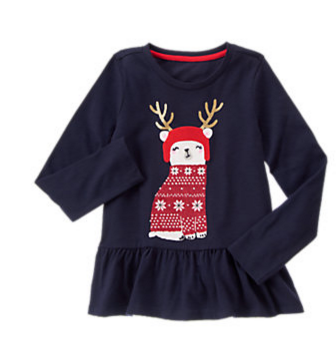 Girls Gym Navy Holiday Bear Peplum Top by Gymboree.