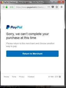 PayPal ошибка.