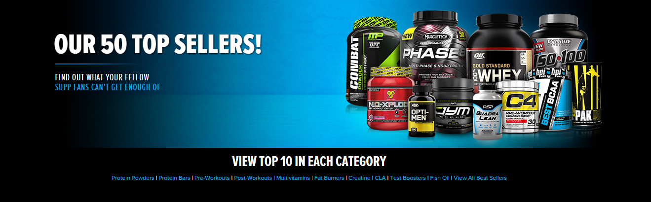 Top 50 Best Selling Supplements at Bodybuilding.com.